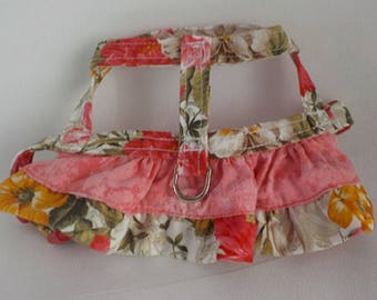 Dog Harness - Dog Clothes - Custom Dog Harness - Coral Rose Ruffle - Dog Apparel -  Dog Dress - Small Dog Harness