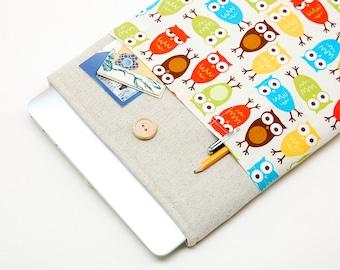 30% OFF SALE White Linen MacBook Case. Case for MacBook 13 Pro (non retina). Sleeve for MacBook 13 Pro with retro owls pocket. MacBook Cover