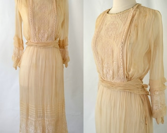 Antique Ivory Muslin Dress, Tea Dress, Gauzy Dress, Needs TLC, Spring, Summer
