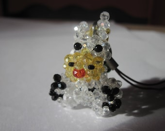 1 cow charm and glass beads - 3.8 cm high (D9)