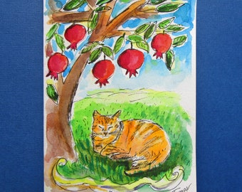 Pomegranate Tree, Hand Painted Cat Card, Cat Art, Pomegranate Art, Original Watercolor Painting, Orange Cat Gift, Jewish Card, Judaica Ar