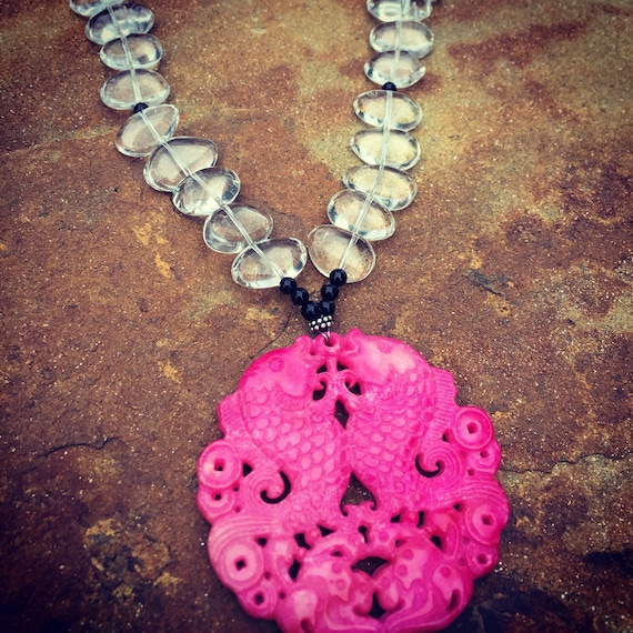 Quartz with Hot Pink Mountain Jade Pendant Statement Necklace and Earring Set