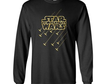 Star Wars Last Jedi Gold Platinum Rebel Fleet Logo LS Ultra Cotton TShirt