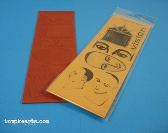 Santos Vision / Invoke Arts Collage Rubber Stamps / Unmounted Stamp Set