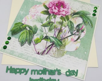 Mother's day or birthday card - green bling 3D