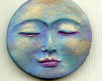 "Polymer Abstract    1 3/8"" Peaceful Moon Face Cab ANTM 5"
