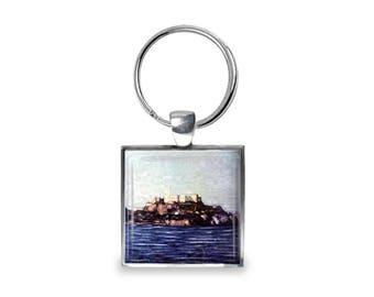 Alcatraz Island - Glass Photo Keychain - Handmade