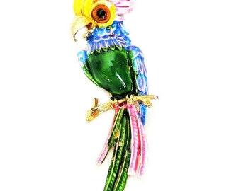 ART Signed Enamel Bird Figural Brooch Green Body