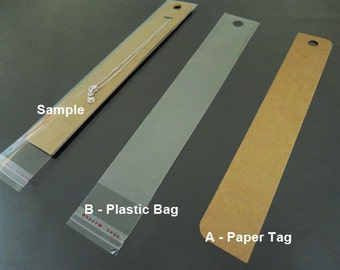 50pcs Kraft Hang Tag for Necklace, Bracelet, Ponytail, Jewelry Display and Supplies or Plastic Bag