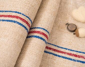 Blue stripes Fabric, Antique linen ,Grain Sack from Europe, yachting pillow, wedding decoration, pillow benchcushion, wedding tablerunner