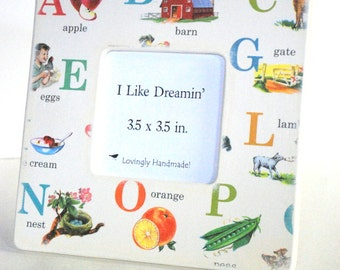 Leaning ABC's Picture Frame, alphabet frame, Wood Frame, Photo Frame, Instgram Frame, Handmade, Square Frame