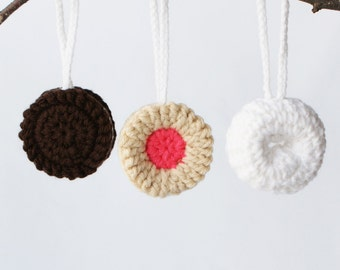 """DIY Crochet PATTERN - Sweet Treats Mini Ornament Collection - 2.5"""" diameter Donut, Chocolate Sandwich, and Fruit Creme Cookie (2015030)"""
