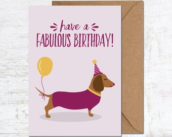 Sausage Dog Card, Dachshund Birthday Card, Dog Birthday Card, Funny Birthday Card, Cute Birthday Card, Birthday Card Boyfriend