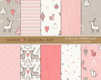 Doodle Digital Paper Pink 'Cute Christmas' Commercial Use Printable Scrapbook Papers Patterns for Invitations, Scrapbook, Crafts...