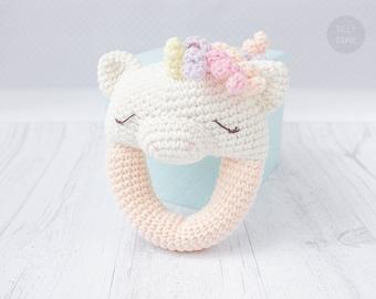 Unicorn Rattle Pattern   Crochet Rattle Toy   Baby Rattle   Teether Pattern   Infant Rattle PDF Crochet Pattern
