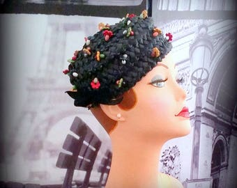 MISS SALLY VICTOR - Woven Rafia Toque - Adorable with Colorful Flower Bead Clusters - Black Velvet Bow - Miss Sally Victor, New York