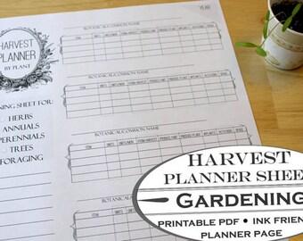 Harvest Planner Worksheet - Printable Garden Planner Page for Garden Journals
