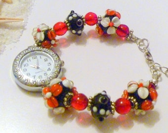 Handcrafted Beaded Watch with Red and Black Lampwork Beads