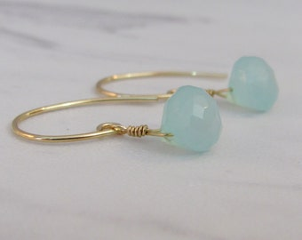 Aqua Chalcedony Earrings, 14K Gold Filled Dangle Earrings, Chalcedony Briolette, Bride Earrings, Wedding Jewelry, Gemstone Drop Earrings