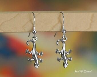 Sterling Silver Salamander Newt or Gecko Earrings Pierced Earwires 925