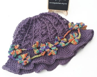 Womens flower sunhat **Made to Order** Crochet or knitted adult hat, cotton sun hat, patch sunhat, small brimmed sunhat