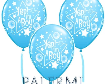 10x Baby Shower Balloons, Yep! I'm a Boy Baby Shower Balloons 11 Inch, Balloons Boy Baby Shower, It's a Boy Balloons