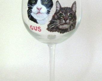 Custom Pet Portrait Paintings, Cat Wine Glass, Personalized Pet, Cat Art, Pet Loss Memorial, Petzoup, Cat Painting, Custom Barware