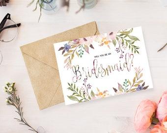 Will You Be My Bridesmaid? Bridesmaid Proposal Card Bridesmaid Maid of Honor Gift Bridal Party Cards Maid of Honor Card Printable Floral