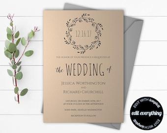 Kraft Wedding Invitation Template - Kraft Invitation Template - Instant Download Printable Invitation Set - Kraft Wedding Invitation Set