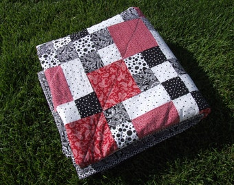 """Black, white, and red baby/lap quilt 62"""" x 62"""""""