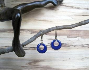 Short Cobalt Blue Dangle Earrings, Blue Domed Drop Earrings, Copper Enamel Jewelry, Nickel Free Kidney Earwires, Handmade Enamel Earrings