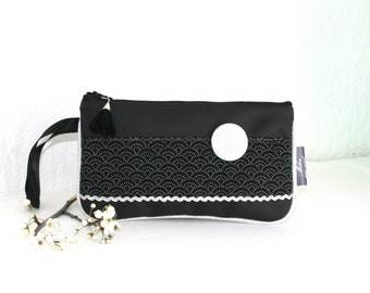 Popsy leatherette pouch and cotton black Segaiha Collection