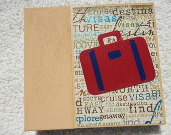 6 x 6 Gold Red and Navy Vacation or Travel Scrapbook Album