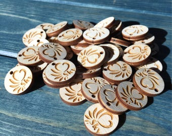 20 - 3/4 inch circle wood tags, Wooden tags, branding tags