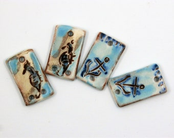 2 pairs of nautical connectors, anchor, sea horse, rustic blue enameled ceramic components for jewelry, pottery, art beads, unique ooak