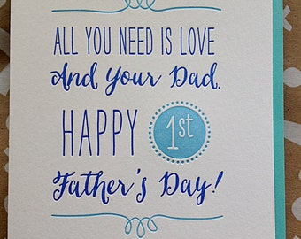 First Father's Day Card for New Dad. Happy First Father's Day. Happy First Father's Day! Letterpress Father's Day.