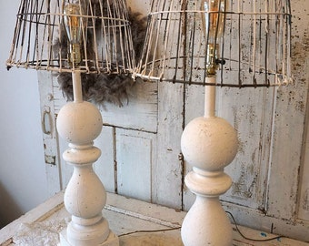 White table lamps wooden large baluster style distressed base w/ recycled rusty basket lampshade w/ crowns lighting decor anita spero design