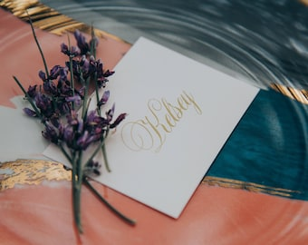 2.5x3.5 Blush Pink Coral and Metallic Gold Calligraphy Script Wedding Place Cards with Printed Guest Names