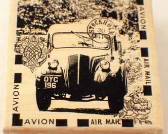 Stampington & Co The Car Avion Air Mail Stockholm  Wood Rubber Stamp #K5521
