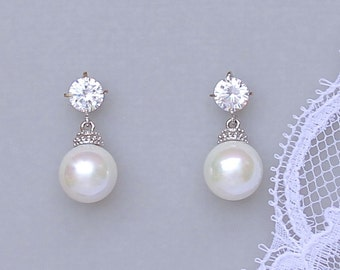 Pearl Drop Earrings, Ivory Pearl Bridal Earrings, Round Pearl Drop Earrings, Swarovski Pearl Wedding Earrings,