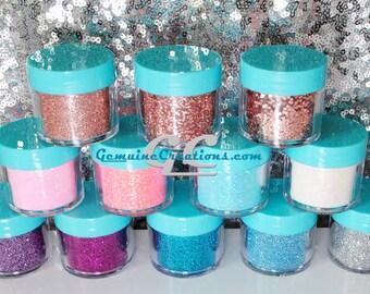 Glitter in Fine Chunky and Jumbo Flake Size in Rose Gold Metallic Pink Blue Purple White