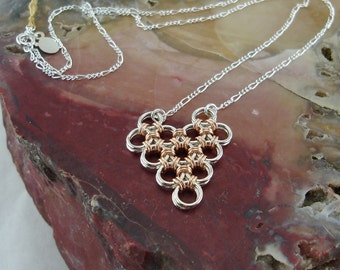 Valentine Jewelry Chain Maille Heart Necklace in Rose Gold and Sterling Silver.