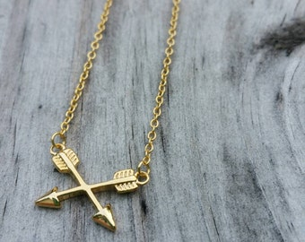 Gold or Silver Crossed Arrows Necklace