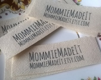 Organic Cotton Fabric Name Labels - Clothing Labels Made to Order - 20 Labels With Two Lines of Text