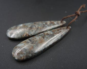 Date Night~ Natural Blue Fuchsite Cabochon Cab Drilled Matched Earrings Bead Pair Natural Stone