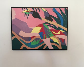 Reclining Woman with Colorful Birds