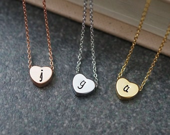 Dainty heart Necklace Initial Necklace Personalized necklace Bridesmaid Gifts Christmas gift for her Personalized jewelry monogram jewelry
