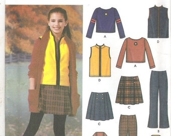 ON SALE 2002 Sewing Pattern - Simplicity 5945 Girls Top pants vest skirt Size 8 to 16 Uncut, Factory Folded