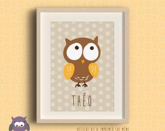Poster frame for nursery OWL