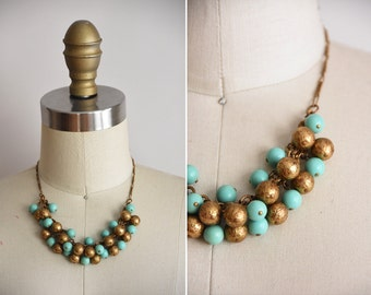 40s Victory Bells necklace/ vintage 1940s necklace/ brass and turquoise ball necklace